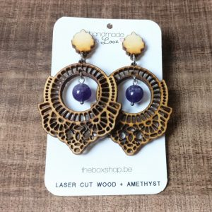laser cut wood earrings amethyst