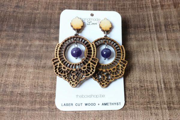 laser cut wood earrings amethyst