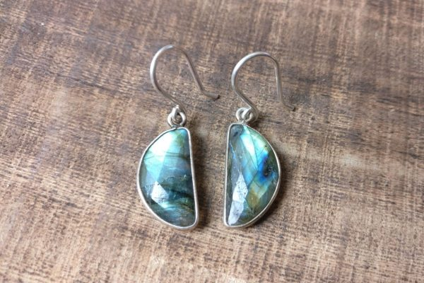 silver 925 earrings labradorite moon