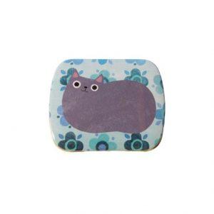 Planet Cat mini blikken doos lichtblauw