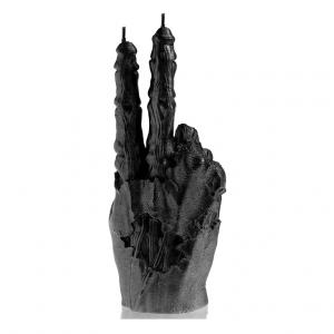 Zombie peace kaars black metallic