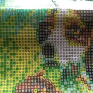 Diamond painting baseball hond