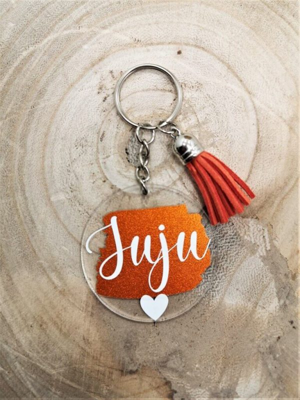 Gepersonaliseerde naam sleutelhanger - Shiny oranje met wit